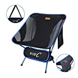 Nice C Ultralight Portable Folding Camping Backpacking Chair Compact & Heavy Duty Outdoor, Camping, BBQ, Beach, Travel, Picnic, Festival with 2 Storage Bags&Carry Bag (1 Pack of Blue)