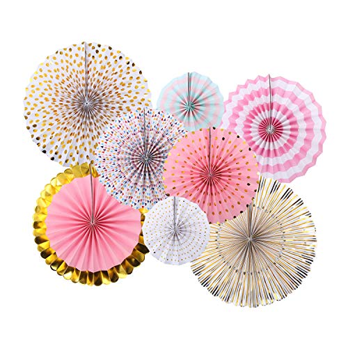 zilue Pink Party Hanging Paper Fans Decoration Set for Wedding Birthday Party Baby Showers Round Events Accessories Set of 8
