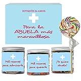 SMARTY BOX Caja Regalo Caramelos y Gominolas para la Mejor Abuela del Mundo, Cumpleaños Santo Golosinas para Regalar Chuches sin Gluten, Fabricado en España