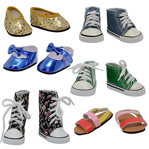The New York Doll Collection- D358 6 Pares de Zapatos para muñecas de 18 Pulgadas (Estilo 3) (12 Unidades), Multicolor