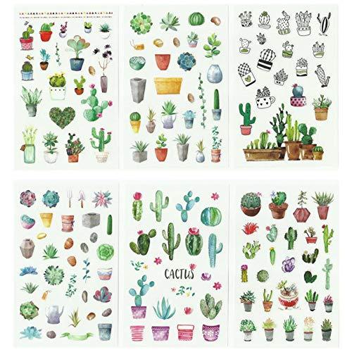 PMSMT 6 Hojas (150 uds) Pegatinas Decorativas de Plantas de Cactus Verdes para álbum de Recortes, Etiqueta Adhesiva para Diario, papelería, álbum, Pegatinas para Diario