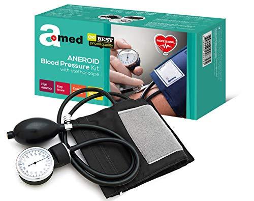Amed Professionelles Analoges Aneroid Blutdruckmessgerät mit Stethoskop