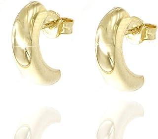 forme di Lucchetta per Donna - Orecchini Oro Giallo 9k Mezzaluna Spessi - Made in Italy Certificato, BR4548