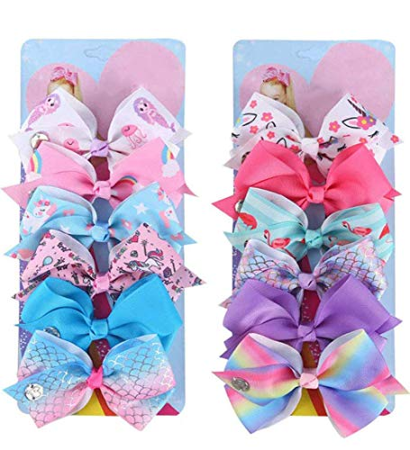 12Pcs Hair Bows for Girls,5 Inch Rainbow Unicorn Grosgrain Ribbon Bows for girls, Alligator Hair Clips Hair Barrettes Accessories for Toddlers Teens Children Kids Gifts