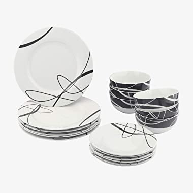 Amazon Basics 18-Piece Kitchen Dinnerware Set, Plates, Dishes, Bowls, Service for 6, Cursive