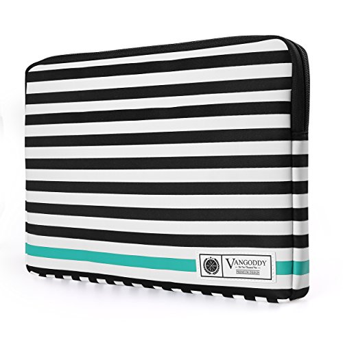 Vangoddy Luxe B Series Black White Stripe Compact Zipper Padded Sleeve for LG G Pad, Remarkable, Onda oBook 11 12, Teclast TBook Series 10.1 inch 11.6 inch 12.2 inch Tablet