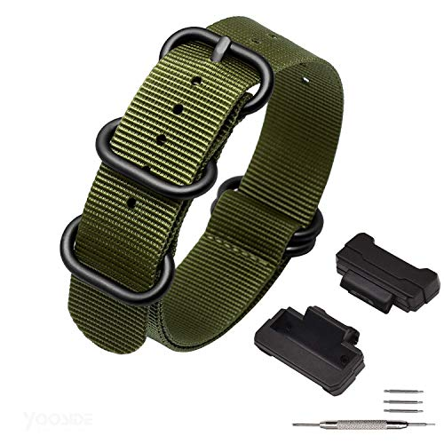 NATO ナイロン時計バンド 時計ベルト For Casio G-Shock GW-5000 5035 DW5600 GW-M5610 など (グリーン(ブラックバックル))