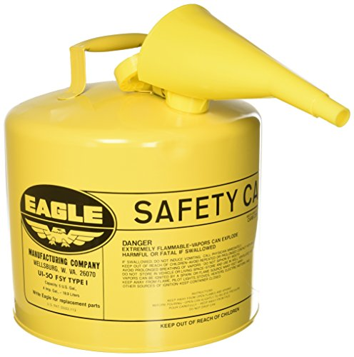 Eagle UI-50-FSY Type I Safety Can, 5 Gallon with Funnel, Yellow