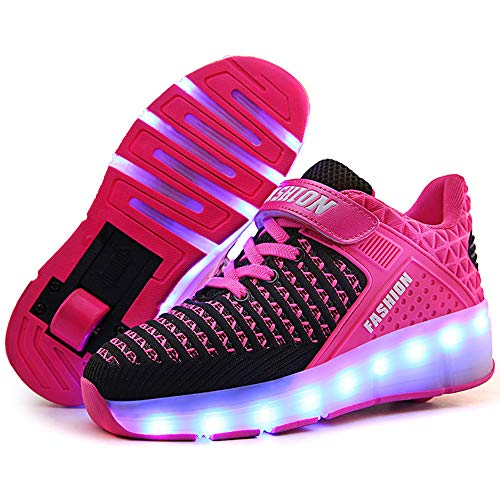 Kinder Pulley Schuhe, Abnehmbare Einrad Outdoor Sports Schuhe, Outdoor-Unisex Roller Gymnastic Turnschuhe,Rosa,32