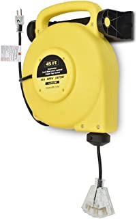 45 Ft Retractable Extension Cord Reel - 2 In 1 Mountable & Portable Power Cord Reel with 3 Electrical Outlets - 14/3 SJTW Heavy Duty Yellow Case and Black Cable With Lighted Power Block