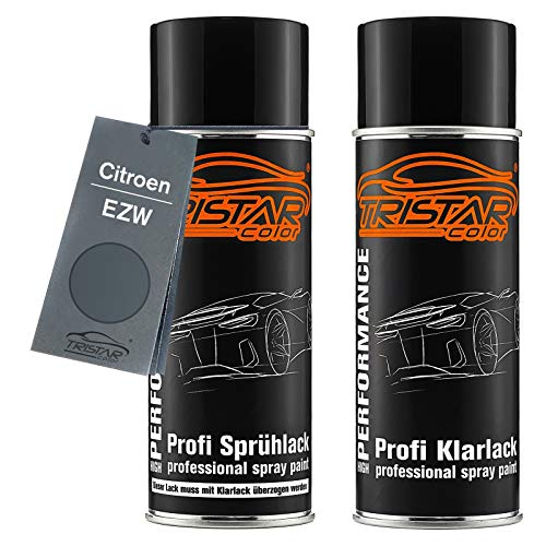 TRISTARcolor Autolack Spraydosen Set für Citroen EZW Gris Fer Metallic/Eisengrau Metallic Basislack Klarlack Sprühdose 400ml