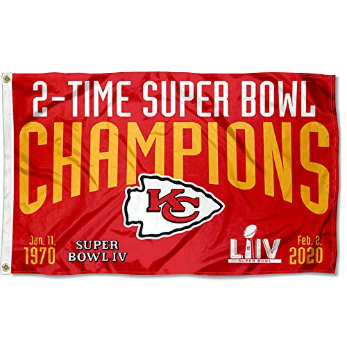 WinCraft Kansas City Chiefs 2 Time 2X Super Bowl Champions 3x5 Grommet Flag