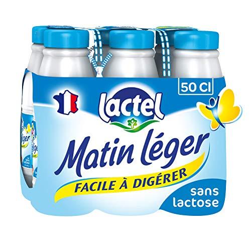 Lactel Lait demi-écrémé, 0,5% de lactose, 1,2% de matière grasse - Les 6 bouteilles de 50cl