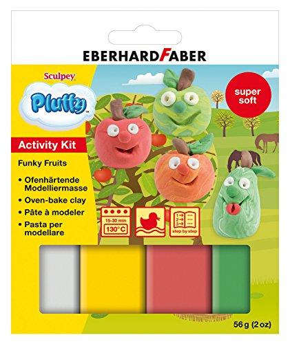 Eberhard Faber 571206 - Modelliermasse Pluffy Activity Kit, Funky Fruit II, ofenhärtend
