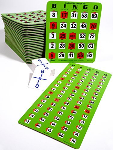 Regal Games Bingo Kit - Jumbo Easy Read Finger-tip Bingo Cards, Masterboard and Calling Cards (Green) (10 Card Kit)