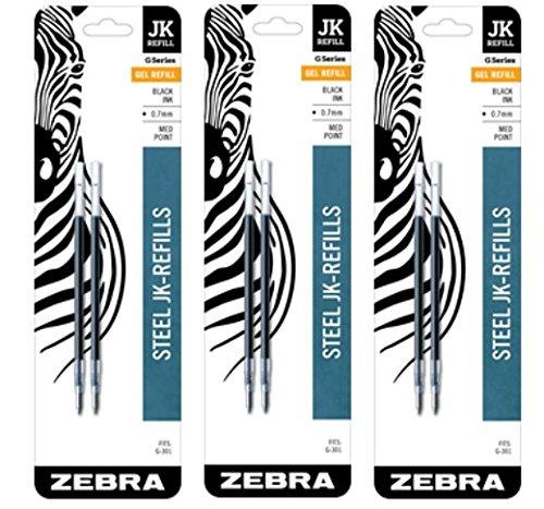 Zebra G-301 JK-Refill 0.7mm, Black, 2 Refills (Pack of 3)