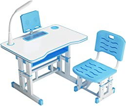 Lightweight Kids Desk and Chair Sets, Height Adjustable Children Writing Table, Kids Study Table Desktop for Boys & Girls