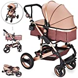 VEVOR Baby Strollers 2 in 1 Portable Infant Baby Carriage Travel System High View Baby Pram Anti Shock Springs Pushchair Pram Buggy Jogger Stroller(Gold Color)