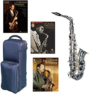 """Virtuoso Series Professional Silver Plated Alto Saxophone Deluxe w/3 Pack of Legends books: Best of Charlie Parker, Julian """"Cannonball"""" Adderley & Coleman Hawkins Collection"""