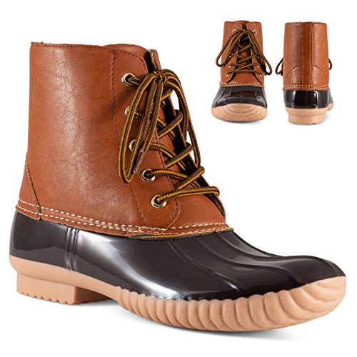 Twisted Shoes Becca Womens Rain Boots, Waterproof Wide Calf, Rubber Lace Up Duck Boot, Brown, 6