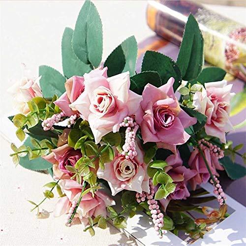Pianta Fiore Artificiale, Home Wedding Silk Roses Bride Bouquet Accessori Autonoleggio 10 teste Economici fiori artificiali decorazioni natalizie (Colore : Pink)
