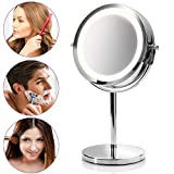 medisana CM 840 round make-up mirror - Table mirror with LED lighting and 5x magnification - Make-up mirror with 360° swivel function