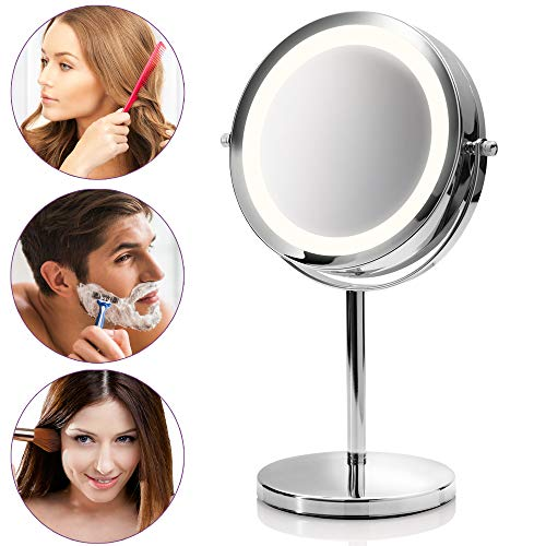 Medisana cm 840 Espejo de Maquillaje Redondo, Espejo de Mesa con Iluminación Led y 5 Aumentos - Espejo de Maquillaje con Función de Giro de 360, Cromo