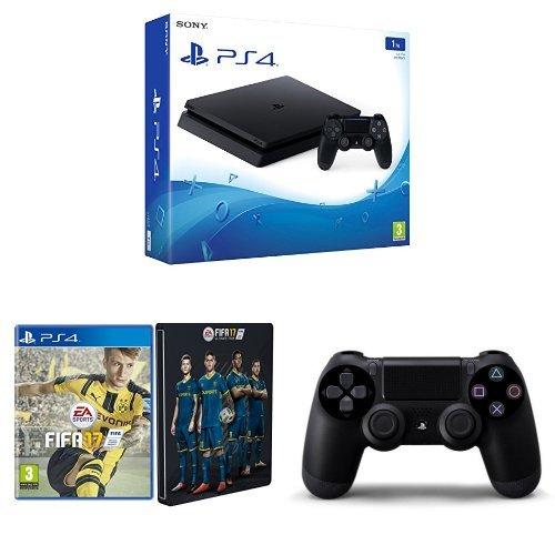 PlayStation 4 1 Tb D Chassis Slim + FIFA 17 Steelbook Esclusiva Amazon + Controller Dualshock 4 Jet Black aggiuntivo