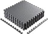 Homgrace - Alfombrillas de puzle para suelo - Esterilla protectora de goma EVA encajable, para suelos de gimnasios, cocinas o garajes - Alfombrilla para fitness de 60 x 60 x 1 cm, color gris 16pcs