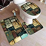 vhg8dweh Juego de alfombras de baño de 3 Piezas,Un montón de Maletas Antiguas de época, Almohadillas Antideslizantes...