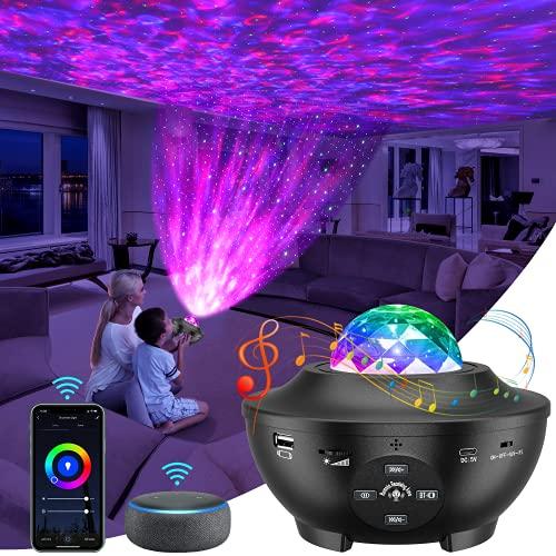 Lámpara Proyector, Luz Nocturna Infantil Estrellas & Océano 2 in 1 con Rotación y Música Temporización y Remoto Bluetooth,10 Modos de Luz Planetario Proyector Estrella,Regalos para Niños
