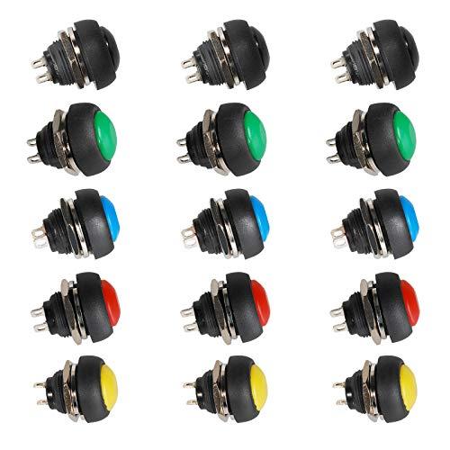 15 botones impermeables redondos de 12 mm, 3 A, 250 V, 6 A, 125 VA, botón momentáneo para trompeta de coche, lámpara de mesa, 5 colores