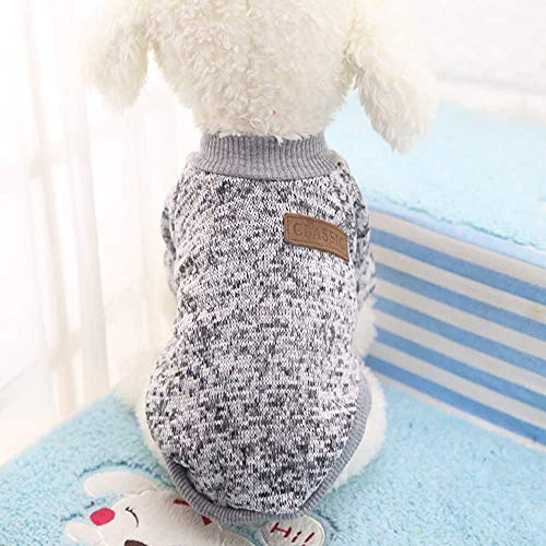 Idepet Pet Dog Classic Knitwear Sweater Fleece Coat Soft Thickening Warm Pup Dogs Shirt Winter Pet Dog Cat Clothes Puppy Customes Clothing for Small Dogs (XXS, Grey)