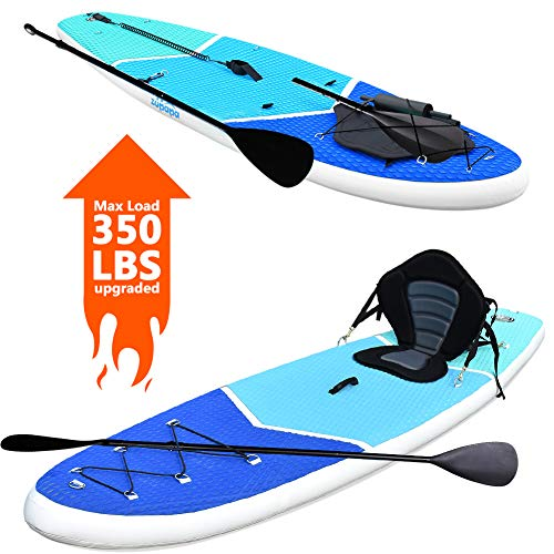Zupapa 2020 Upgraded Inflatable Stand Up Paddle Board 6 Inch Thick 10 FT Kayak Convertible All Accessories Included