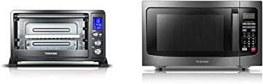 Toshiba AC25CEW-BS Digital Toaster Oven & EM131A5C-BS Microwave Oven with Smart Sensor, Easy Clean Interior, ECO Mode and Sou
