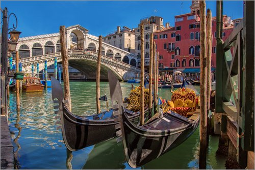Posterlounge Acrylglasbild 30 x 20 cm: Venedig Gondeln vor Rialto von FineArt Panorama - Wandbild, Acryl Glasbild, Druck auf Acryl Glas Bild