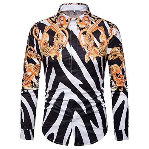 Casual Slim Fit Camisas Venta Yvelands Hombres Moda Ropa de Trabajo Soporte de impresión Collar Fit Slim Botones Camiseta tee(Blanco,L)