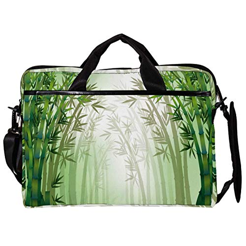 Unisex Computer Tablet Satchel Bag,Lightweight Laptop Bag,Canvas Travel Bag,13.4-14.5Inch with Buckles Green Bamboo Tree Quiet