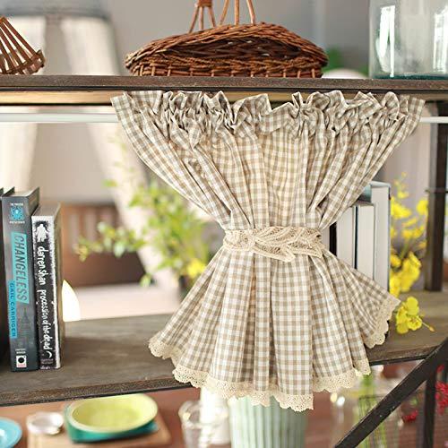 shabby mantovana Mezza Tenda Lino di Cotone Mantovana Tenda Stile Country Tende Cucina Shabby Chic Tendine per Cucina Tasso di Ombreggiatura 50%