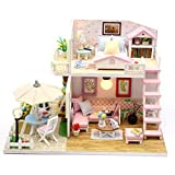 DIY House 3D Wooden DIY Miniature House Furniture LED House Puzzle Gifts Heimdekoration,...