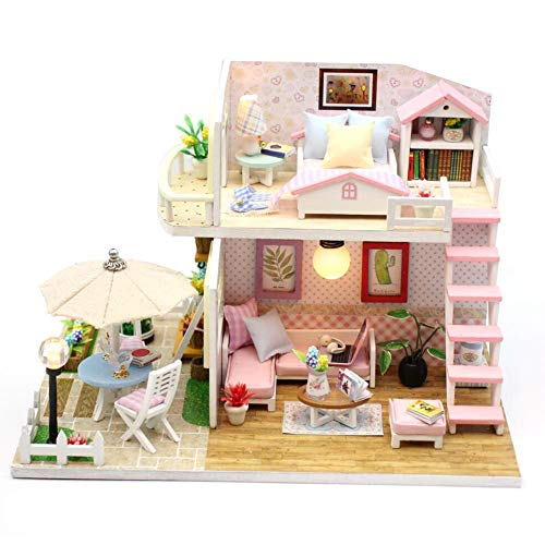DIY House 3D Wooden DIY Miniature House Furniture LED House Puzzle Gifts Heimdekoration, Kunsthandwerk, Geburtstagsgeschenke, Valentine's Day (mit Bewegung Und Staubschutz)