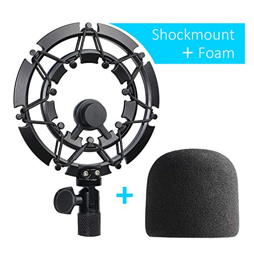 Blue Yeti Shock Mount with Foam Windscreen, Alloy Shockmount Reduces Vibration With Blue Yeti Pop Filter, Compatible for Blue Yeti and Yeti Pro Microphone by YOUSHARES