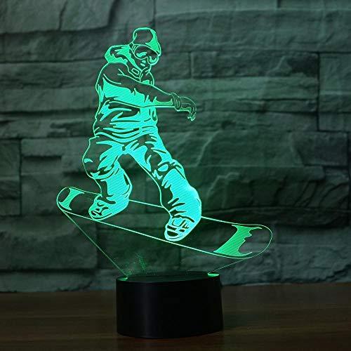 Snowboard Modell 3d 7 Farbe LED Nachtlampen für Kinder Touch Led USB Tisch Lampara Lampe Baby Sleeping Nightlight Drop Ship
