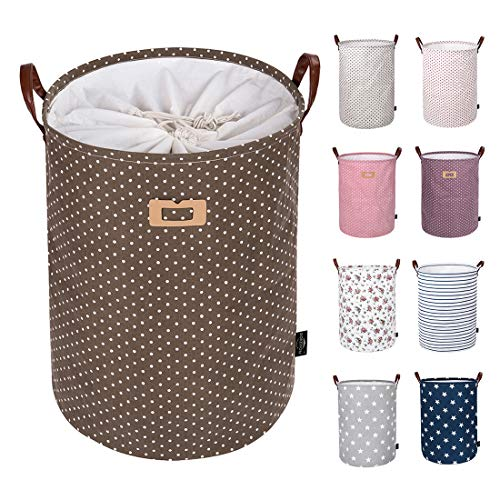 DOKEHOM 22-Inches Thickened X-Large Laundry Basket -9 Colors- with Durable Leather Handle Drawstring Waterproof Round Cotton Linen Collapsible Storage Basket Brown Dots XL