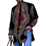 Africano Tradicional Camisa de Hombre Manga Larga con Bolsillo Camisa con Botones Patrón Impreso Camiseta Superior Tradicional (Color : Black, Size : M)