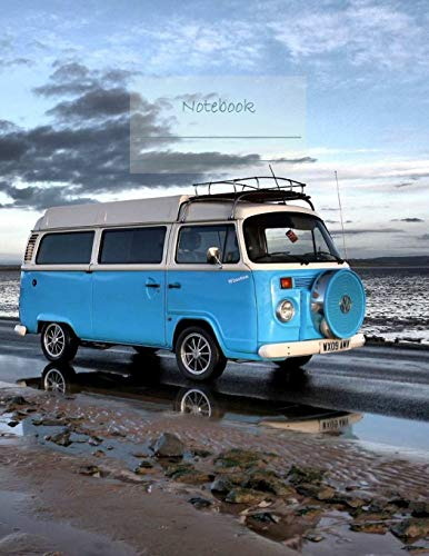 Notebook: Large notebook with 120 Lined pages. Wide ruled. Ideal for School notes, Journaling, Hand lettering, Calligraphy practice. Perfect gift. 8.5' x 11.0' (Large). (Blue Campervan cover).