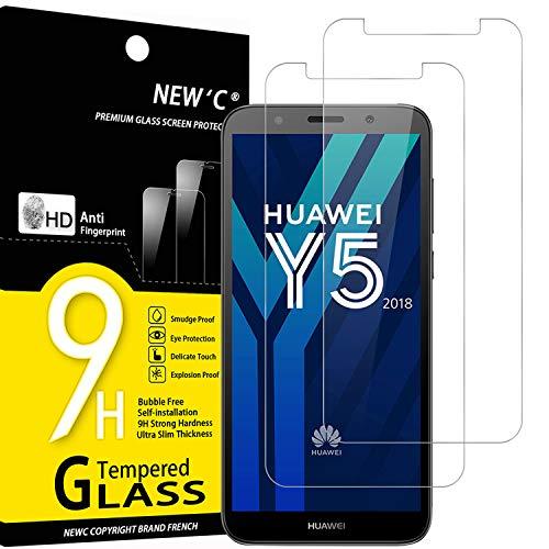 NEW'C 2 Stück, PanzerglasFolie Schutzfolie für Huawei Y5 2018, Frei von Kratzern Fingabdrücken & Öl, 9H Festigkeit, HD Bildschirmschutzfolie, 0.33mm Ultra-klar, Ultrawiderstandsfähig
