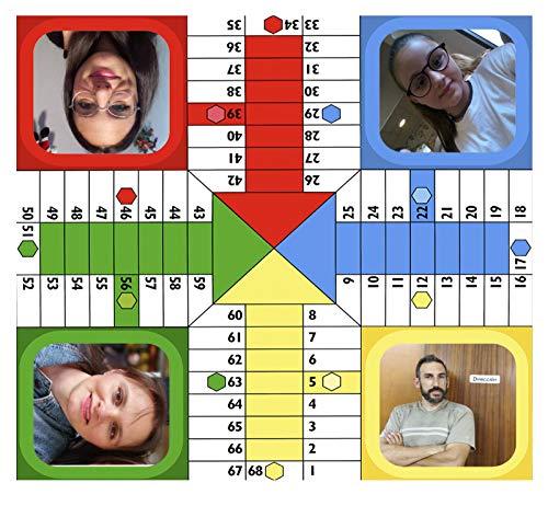 SAQUITOMAGICO Parchis Personalizado con Tus Fotos ,para 4 Jugadores (20X20CM)