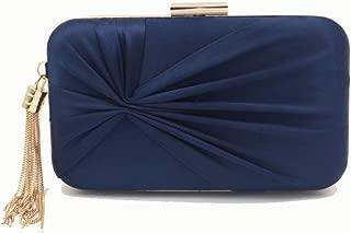 Pusaman Ms. Retro Silk Tassel Bag, Evening Bag Fashion Personality (Color : Dark Blue, Size : 20 * 5 * 11.5)