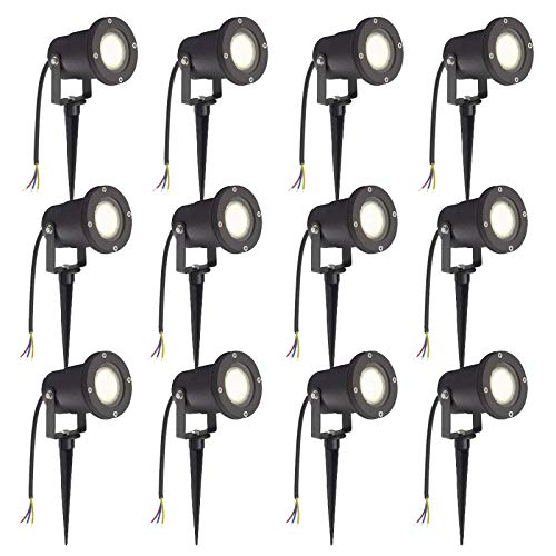 SAILUN 12 x 3W LED luce da giardino prato giardino con picchetto da terra, nero opaco, bianco caldo 85-265V, impermeabile IP65 per esterno giardino scenario parco acquatico [Classe energetica A ++]